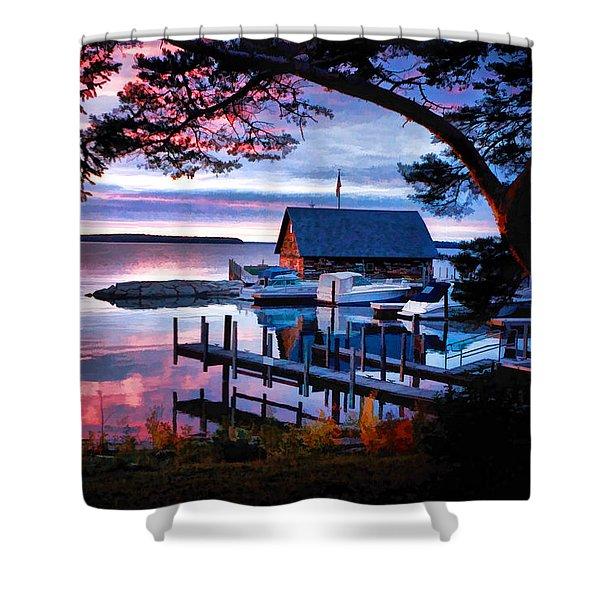 Door County Anderson Dock Sunset Shower Curtain