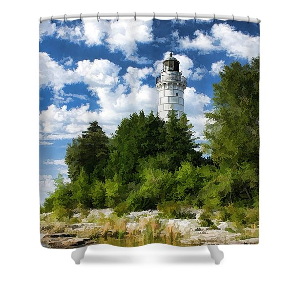 Cana Island Lighthouse Cloudscape In Door County Shower Curtain