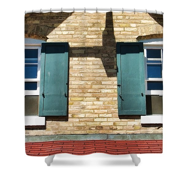 Door County Eagle Bluff Lighthouse Shutters Shower Curtain