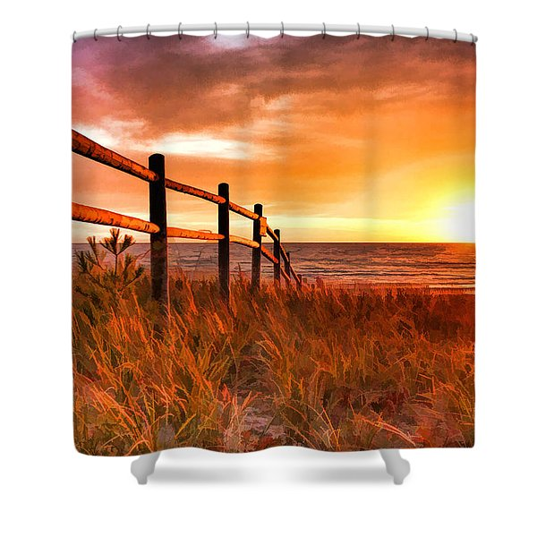 Door County Europe Bay Fence Sunrise Shower Curtain