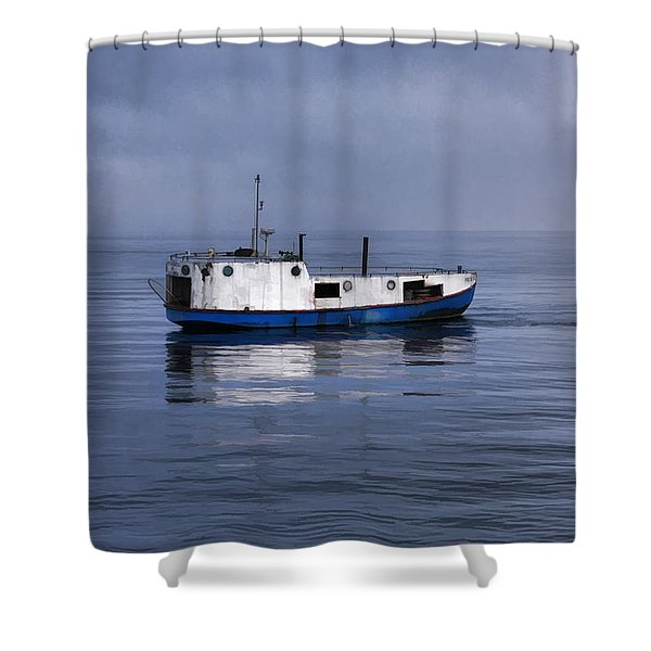 Door County Gills Rock Trawler Shower Curtain