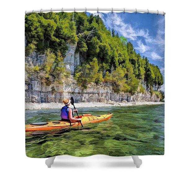 Door County Kayaking Around Rock Island State Park Shower Curtain