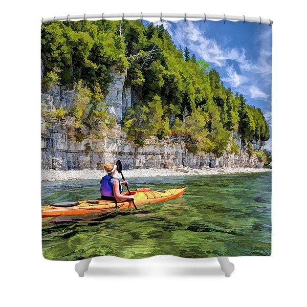Door County Kayaking Around Rock Island State Park Shower Curtain