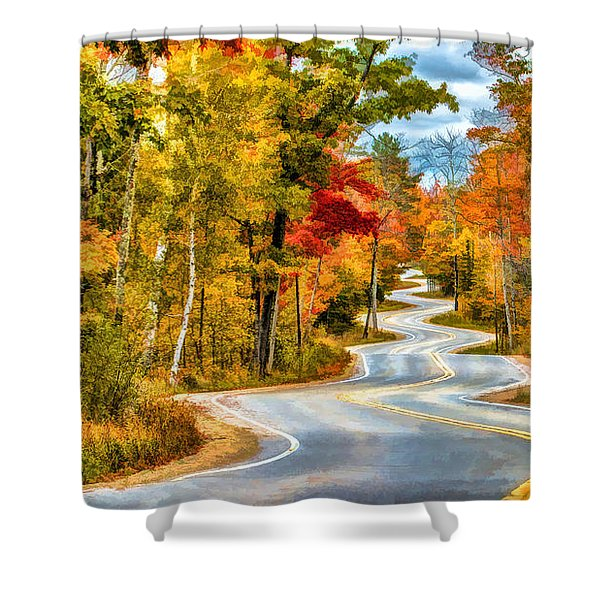 Door County Road To Northport In Autumn Shower Curtain
