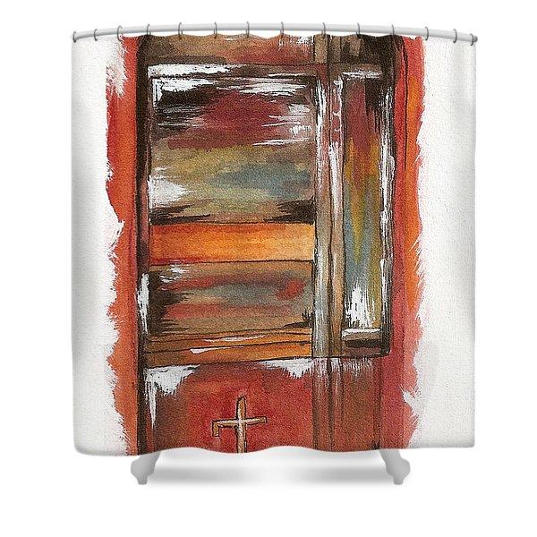 Door Series - Door 10 - Oia Greece Shower Curtain