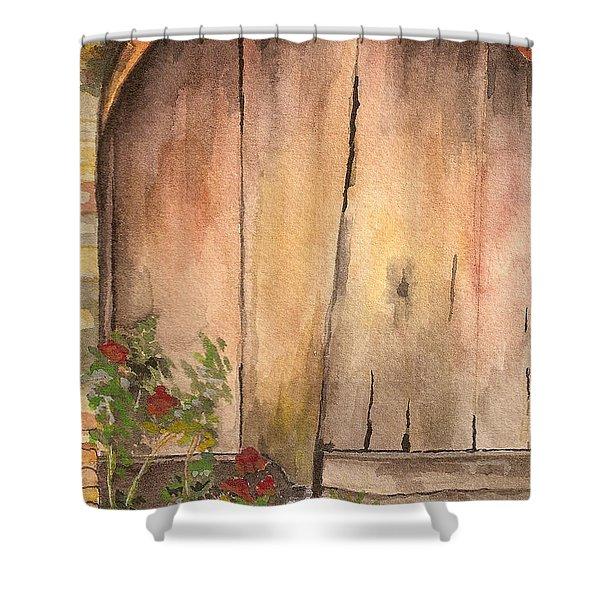Door Series - Door 9 - San Gimigano Tuscany Italy Shower Curtain