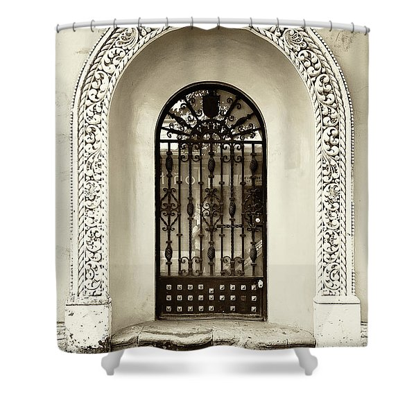 Door With Decorated Arch Shower Curtain