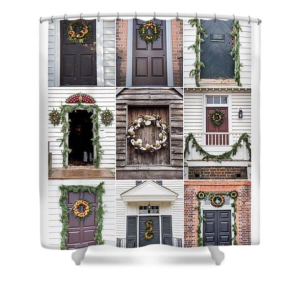 Doors Of Williamsburg Collage 2 Shower Curtain
