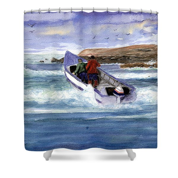 Dory Boat Heading To Sea Shower Curtain