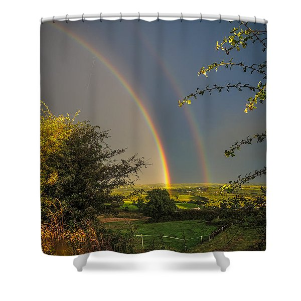 Double Rainbow Over County Clare Shower Curtain