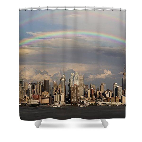 Double Rainbow Over Nyc Shower Curtain