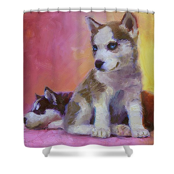 Double Trouble - Alaskan Husky Sled Dog Puppies Shower Curtain