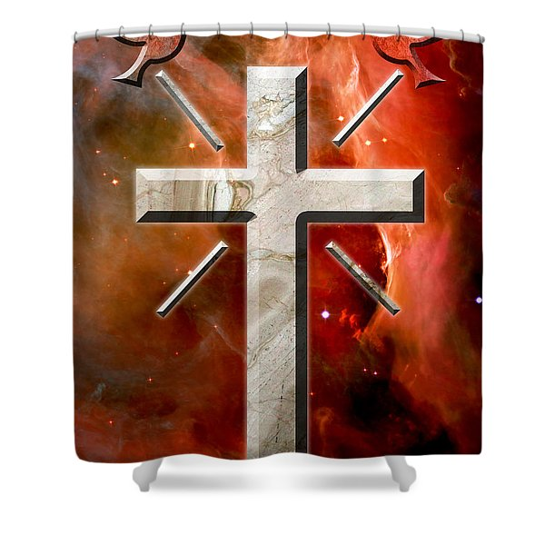 Doves And Stone Cross Shower Curtain