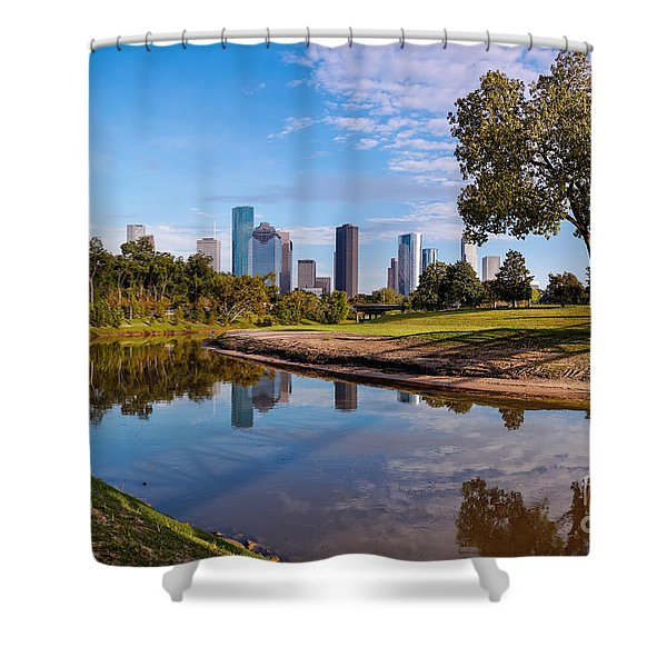 Downtown Houston Panorama From Buffalo Bayou Park Shower Curtain