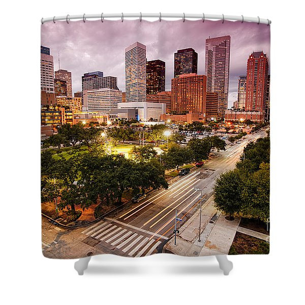 Downtown Houston Skyline During Twilight Shower Curtain