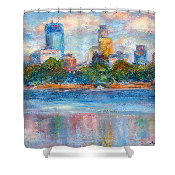 Downtown Minneapolis Skyline From Lake Calhoun II - Or Commission Your City Painting Shower Curtain