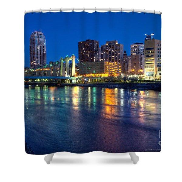 Downtown Minneapolis Skyline Hennepin Avenue Bridge Shower Curtain