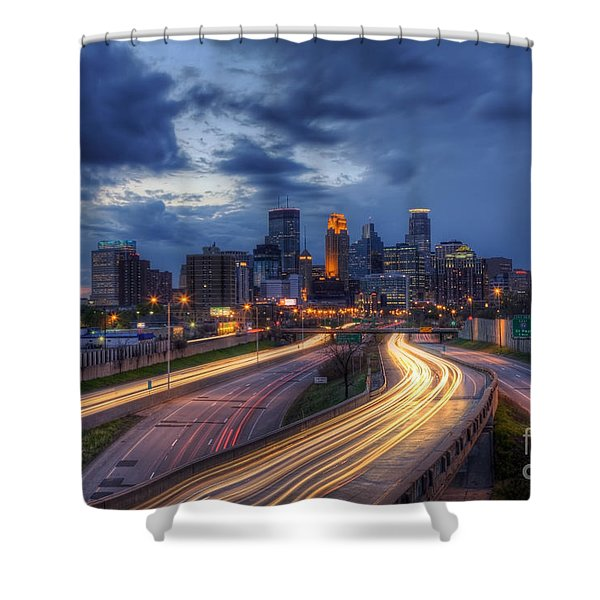 Downtown Minneapolis Skyline On 35 W Sunset Shower Curtain