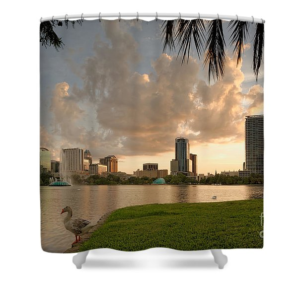 Downtown Orlando Skyline Lake Eola Sunset Shower Curtain