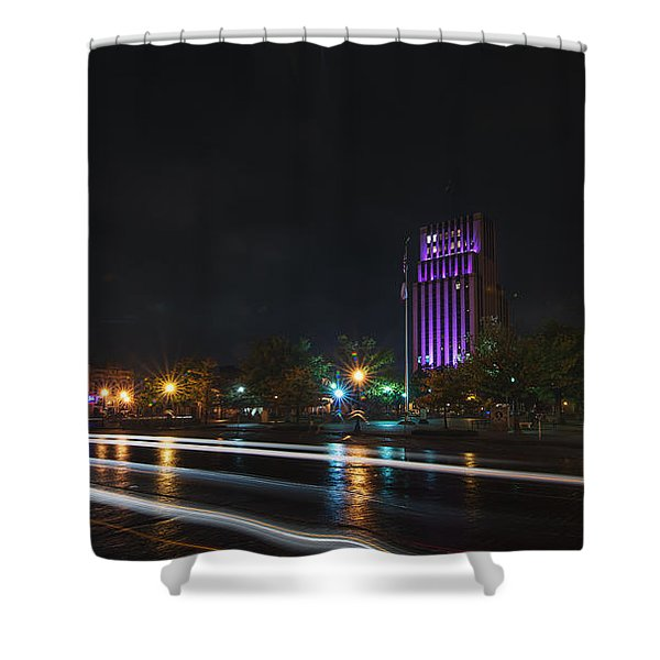 Downtown Tyler Texas At Night Shower Curtain