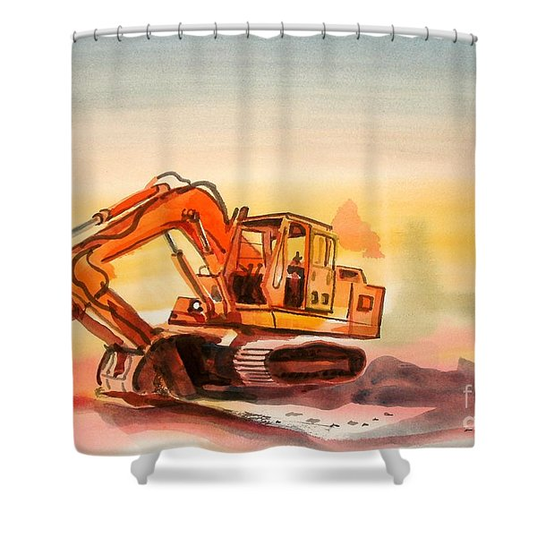 Dozer In Watercolor  Shower Curtain