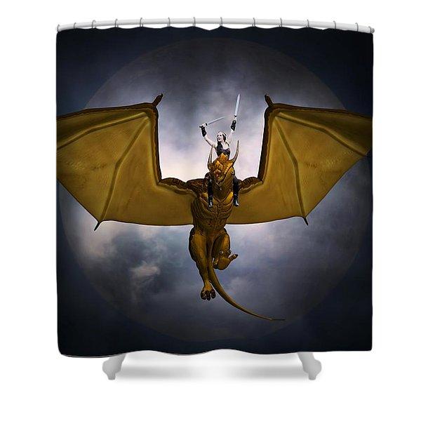 Dragon Rider Shower Curtain