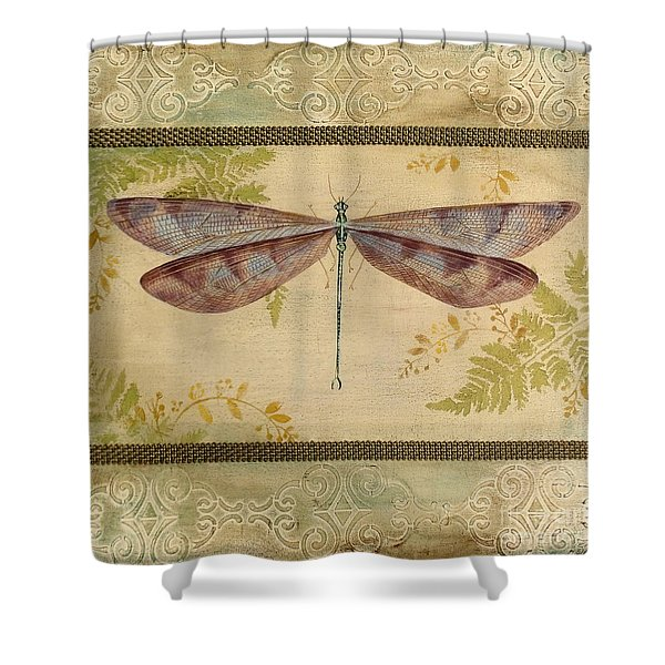 Dragonfly Among The Ferns-3 Shower Curtain