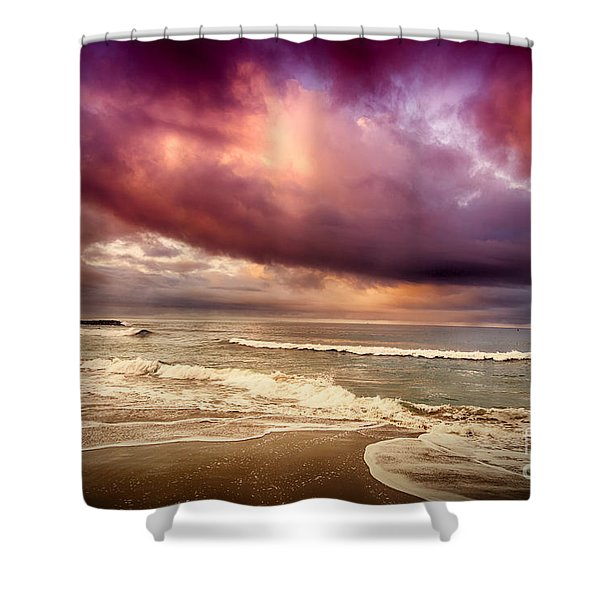 Shower Curtain featuring the photograph Dramatic Beach by David Millenheft