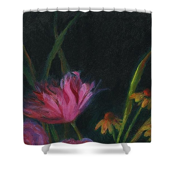 Dramatic Floral Still Life Painting Shower Curtain