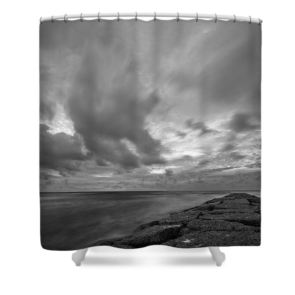 Dramatic Skies Over Galveston Jetty Shower Curtain