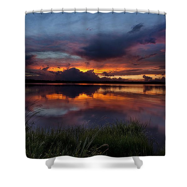 Dramatic Sunset At The Lake Shower Curtain