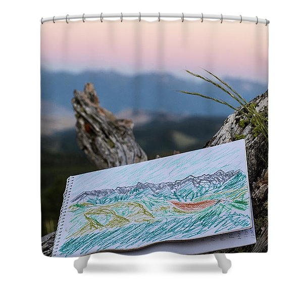 Drawing Of Montanas Rocky Mountains Shower Curtain