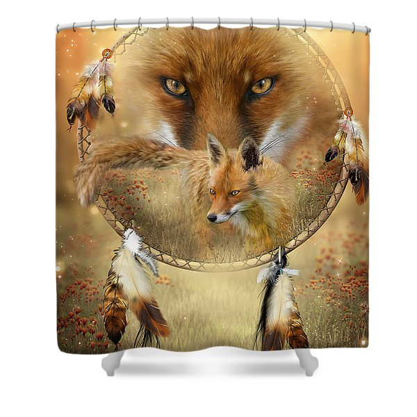 Dream Catcher- Spirit Of The Red Fox Shower Curtain