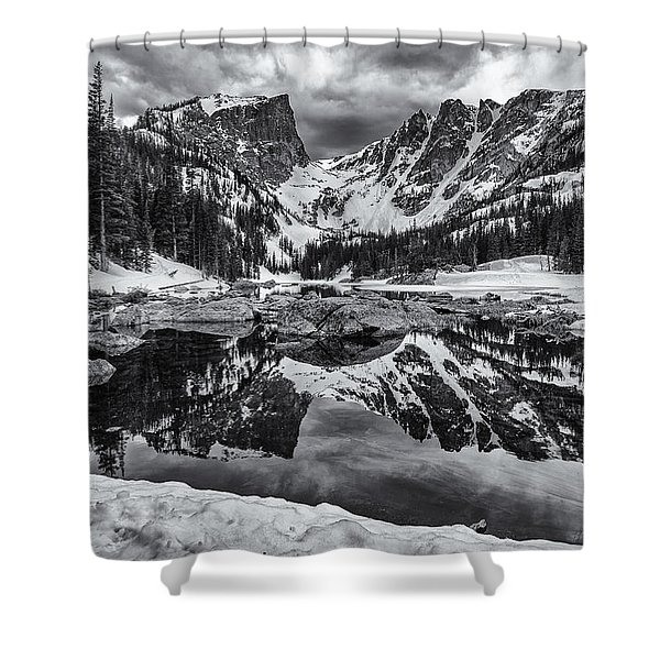 Dream Lake Morning Monochrome Shower Curtain