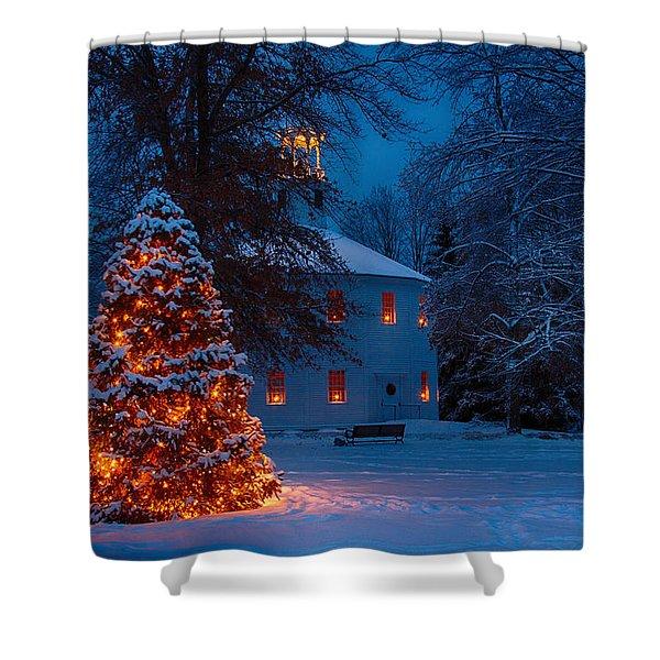Christmas At The Richmond Round Church Shower Curtain