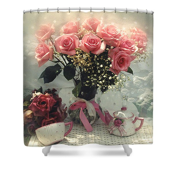 Dreamy Cottage Chic Pink Roses And Teapot  Shower Curtain