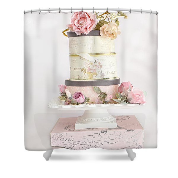 Shabby Chic Cottage Paris Pink Boxes Of Roses - Romantic Cottage Chic Parisian Flowers Wall Prints Shower Curtain