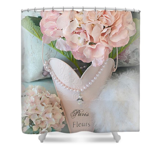 Paris Shabby Chic Pink Hydrangeas Heart - Romantic Cottage Chic Paris Pink Shabby Chic Hydrangea Art Shower Curtain