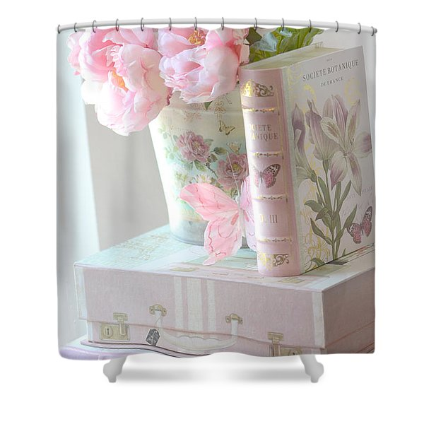 Dreamy Shabby Chic Pink Peonies And Books - Romantic Cottage Peonies Floral Art With Pink Books Shower Curtain