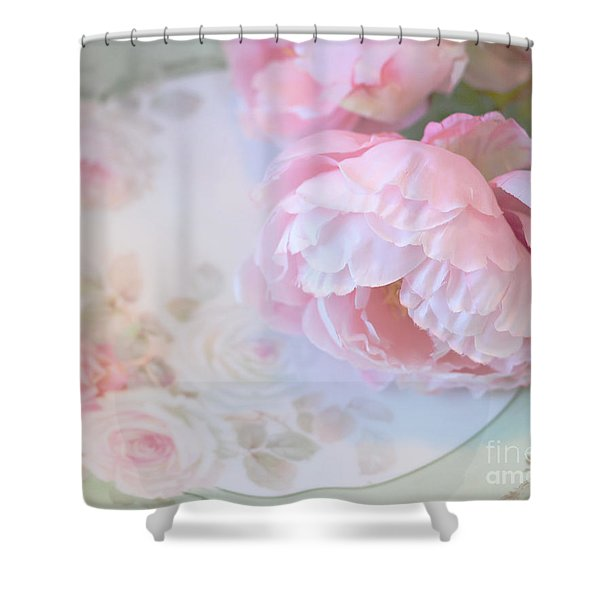 Dreamy Shabby Chic Pink Peonies - Romantic Cottage Chic Vintage Pastel Peonies Floral Art Shower Curtain