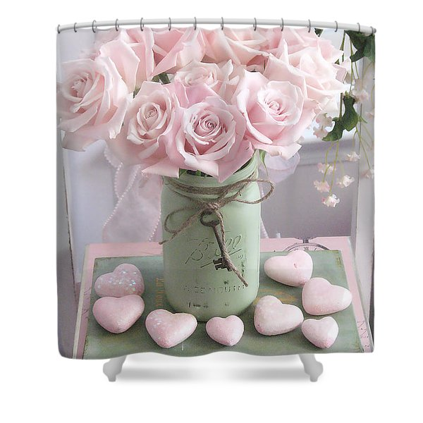 Shabby Chic Pink Roses - Romantic Valentine Roses Hearts Floral Prints Home Decor - Romantic Roses  Shower Curtain