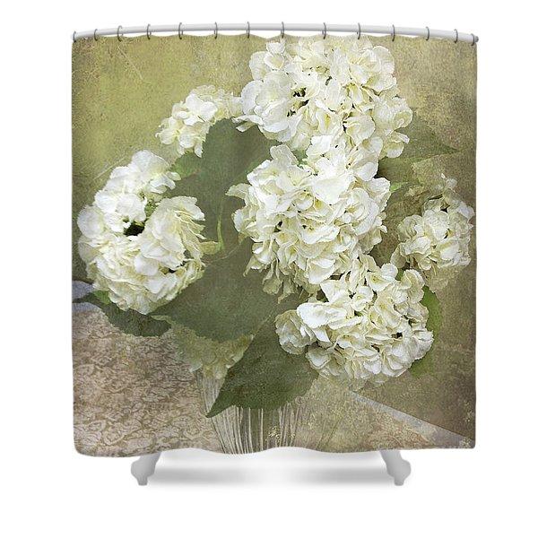 Hydrangea Floral Vintage Cottage Chic White Hydrangeas - Shabby Chic Dreamy White Floral Art  Shower Curtain