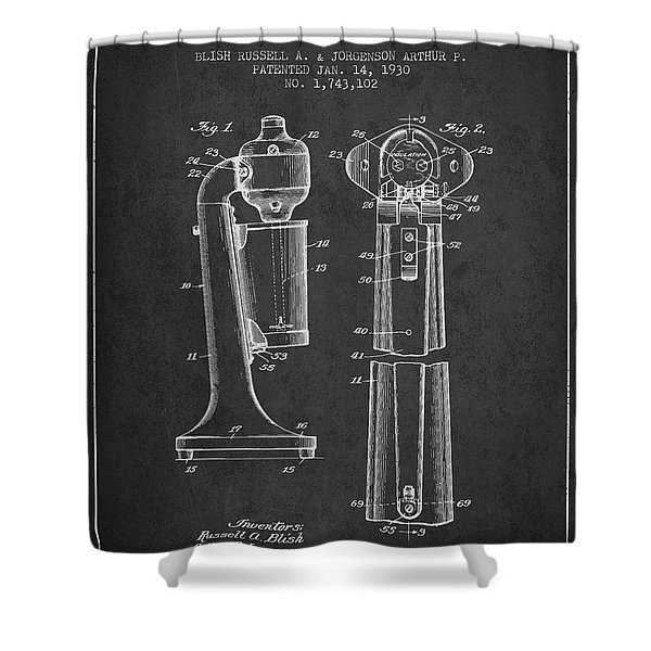 Drink Mixer Patent From 1930 - Dark Shower Curtain