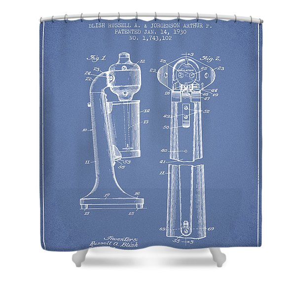 Drink Mixer Patent From 1930 - Light Blue Shower Curtain