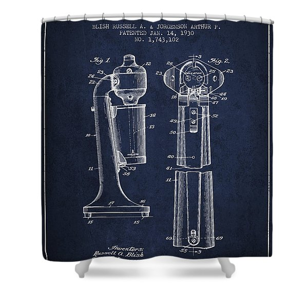 Drink Mixer Patent From 1930 - Navy Blue Shower Curtain