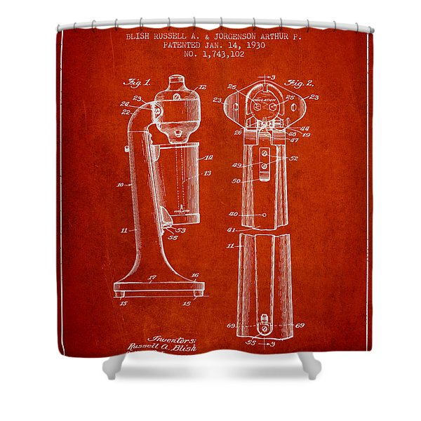 Drink Mixer Patent From 1930 - Red Shower Curtain