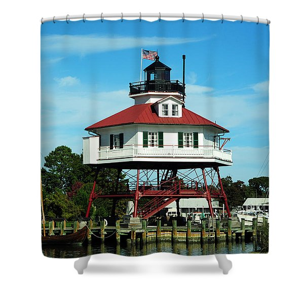 Drum Point Lighthouse Shower Curtain