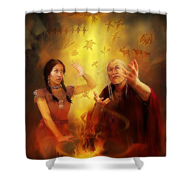 Drum Story Elders Teaching Shower Curtain