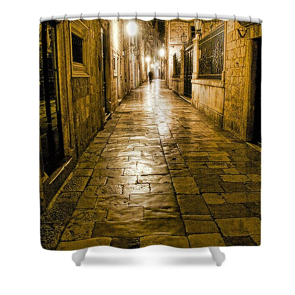 Dubrovnik Streets At Night Shower Curtain