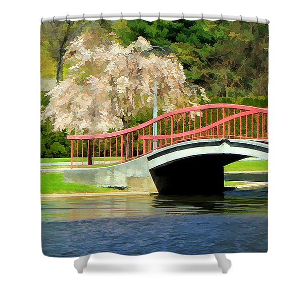 Springtime On The Lake Shower Curtain